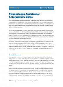 Sweepstakes Assistance: A Caregiver s Guide