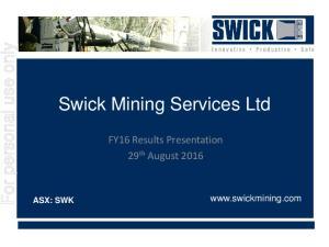 Swick Mining Services Ltd