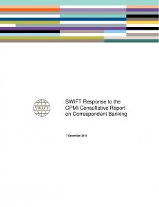 SWIFT Response to the CPMI Consultative Report on Correspondent Banking