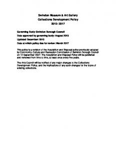 Swindon Museum & Art Gallery Collections Development Policy