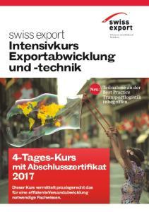 swiss export Intensivkurs Export abwicklung und -technik