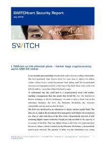 SWITCHcert Security Report