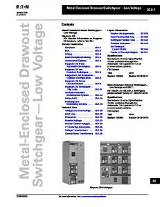 Switchgear Low Voltage. Metal-Enclosed Drawout. Metal-Enclosed Drawout Switchgear Low Voltage Contents