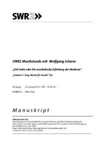 SWR2 Musikstunde, Dienstag, 22. Januar 2013,