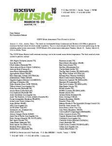 SXSW Music Announces Third Round of Artists