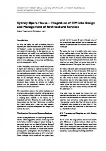 Sydney Opera House Integration of BIM into Design and Management of Architectural Services