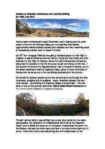 Sydney to Adelaide: conference and road-trip birding Ian Reid, Dec 2013