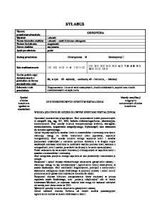SYLABUS. Lekarski Lekarski nauki kliniczne zabiegowe magisterski stacjonarne polski I II III IV V VI