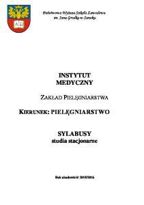 SYLABUSY studia stacjonarne