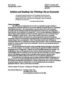 Syllabus and Reading List: Thinking Like an Economist