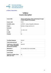 Syllabus Course description