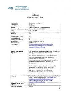 Syllabus Course description