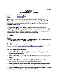 SYLLABUS EDF 6475 Qualitative Research I - Methods