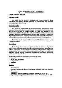 Syllabus for INTERNATIONAL ECONOMICS