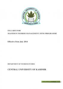 SYLLABUS FOR MASTER IN TOURISM MANAGEMENT (MTM) PROGRAMME