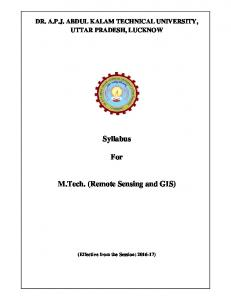 Syllabus. For. M.Tech. (Remote Sensing and GIS)