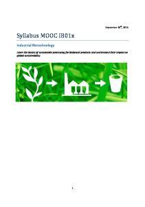 Syllabus MOOC IB01x. Industrial Biotechnology