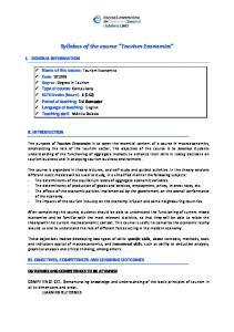 Syllabus of the course Tourism Economics