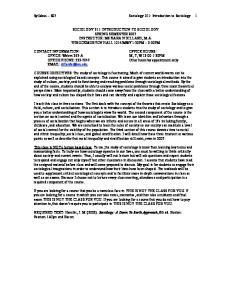 Syllabus S07 Sociology 211: Introduction to Sociology 1
