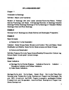 SYLLABUS-SOCIOLOGY. Development of Sociology as a Social Science and Sociological Prospective