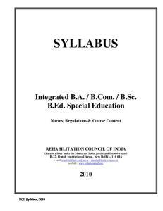 SYLLABUS SYLLABUS. B.Ed. (Special Education) Norms, Regulations & Course Content. Norms, Regulations & Course Content REHABILITATION COUNCIL OF INDIA