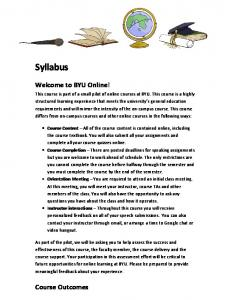 Syllabus. Welcome to BYU Online! Course Outcomes