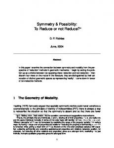 Symmetry & Possibility: To Reduce or not Reduce?