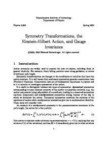 Symmetry Transformations, the Einstein-Hilbert Action, and Gauge Invariance