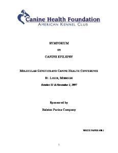 SYMPOSIUM CANINE EPILEPSY