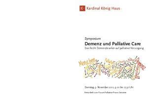 Symposium Demenz und Palliative Care Das Recht Demenzkranker auf palliative Versorgung