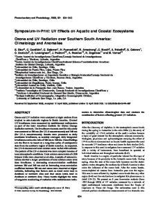 Symposium-in-Print: UV Effects on Aquatic and Coastal Ecosystems