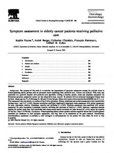 Symptom assessment in elderly cancer patients receiving palliative care
