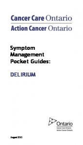 Symptom Management Pocket Guides: DELIRIUM