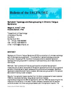Symptom Typology and Sub-grouping in Chronic Fatigue Syndrome