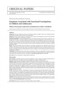 Symptoms Associated with Functional Constipations in Children and Adolescents