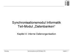 Synchronisationsmodul Informatik Teil-Modul Datenbanken