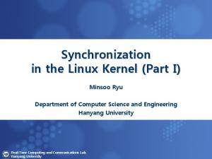 Synchronization in the Linux Kernel (Part I)