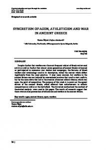 SYNCRETISM OF AGON, ATHLETICISM AND WAR IN ANCIENT GREECE