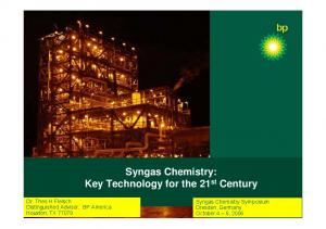 Syngas Chemistry: Key Technology for the 21 st Century