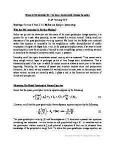 Synoptic Meteorology II: The Quasi-Geostrophic Omega Equation February 2015