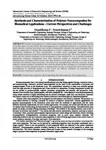 Synthesis and Characterization of Polymer Nanocomposites for Biomedical Applications - Current Perspectives and Challenges
