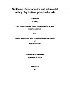 Synthesis, characterisation and antimalarial activity of quinoline-pyrimidine hybrids