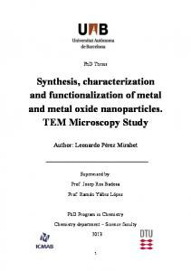 Synthesis, characterization and functionalization of metal and metal oxide nanoparticles. TEM Microscopy Study