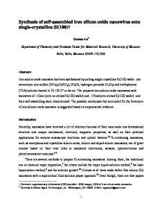 Synthesis of self-assembled iron silicon oxide nanowires onto single-crystalline Si(100)