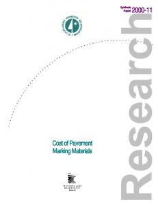Synthesis Report Cost of Pavement Marking Materials