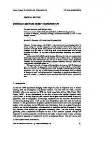 Synthetic aperture radar interferometry