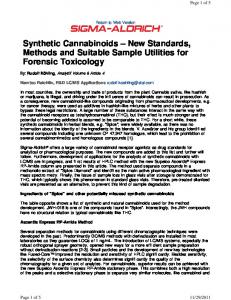 Synthetic Cannabinoids New Standards, Methods and Suitable Sample Utilities for Forensic Toxicology