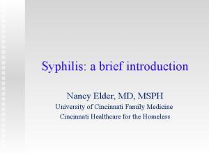 Syphilis: a brief introduction