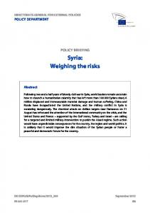 Syria: Weighing the risks