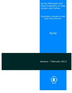 Syrian refugees and food insecurity in Iraq, Jordan and Turkey: Secondary Literature and Data Desk Review